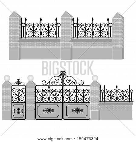 Metal wrought-iron gates gate and fence with round lamps and stone and brickwork. Artistic forging.