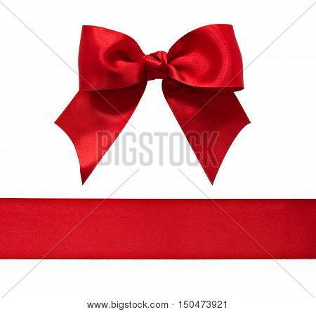 Red satin bow and ribbon isolated on white background