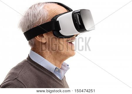 Amazed senior using a VR headset and experiencing virtual reality isolated on white background
