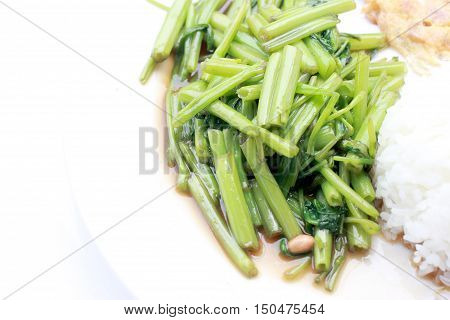 Stir-fried Chinese Morning Glory, Water Spinach, Tumis Kangkung, Stir Fried Morning Glory .phad Puk