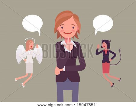 Angel and devil hovering over a thinking woman, trying to make a choice, dialogue bubbles above. Cartoon vector flat-style concept illustration