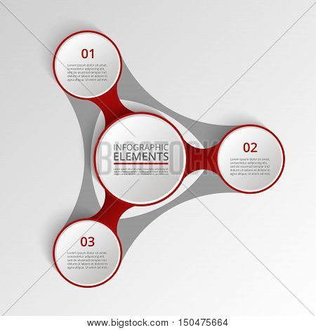 Infographics template. Metaball for diagram graph presentation and chart. Business concept with 3 options parts steps or processes. Business team. Abstract scheme of mlm.