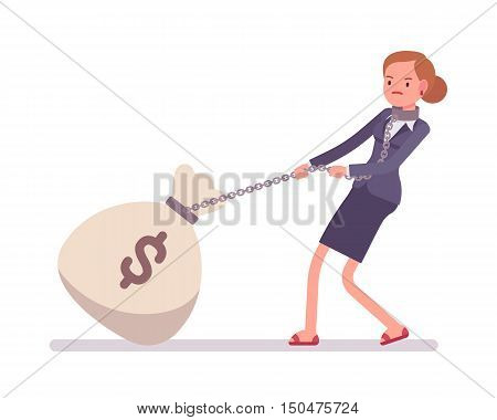 Businesswoman dragging a giant heavy money sack on a chain. Cartoon vector flat-style concept illustration