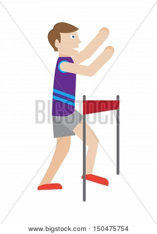 Runner on finish vector. Flat style. Enjoyment of victory. Running man crossing ribbon at the finish. Winner in sport competition. Marathon. Activity and healthy life. Isolated on white background