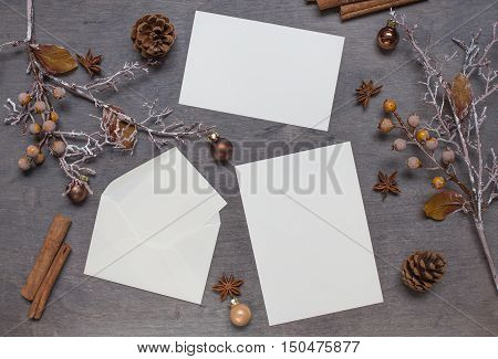 Christmas background with card and envelope. Top view