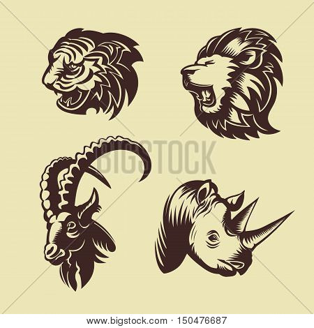 Collection of animal heads. Lion, tiger, rhino and goat. Tattoo and logo design.