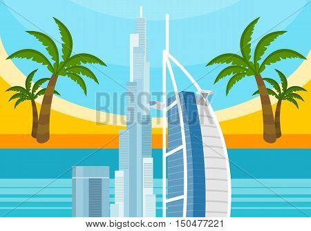 United Arab Emirates travelling banner. Landscape with traditional arabic landmarks. Skyscrapers and private buildings. Nature and architecture. Part of series of travelling around the world. Vector