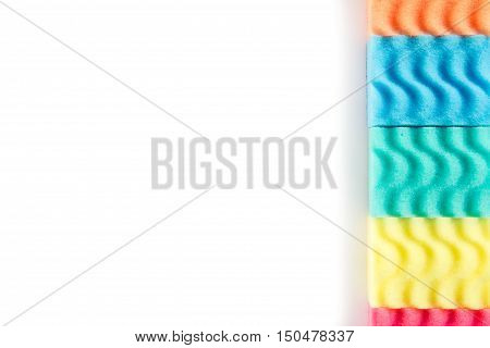 Multicolor Dish Washing Sponges Isolated on White Background. Space for text