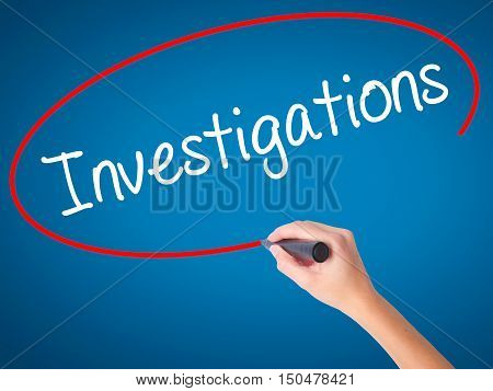 Women Hand Writing Investigations With Black Marker On Visual Screen.