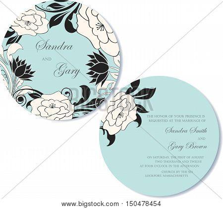 Round, double-sided wedding invitation card. Vector illustration