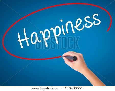 Women Hand Writing Happiness With Black Marker On Visual Screen