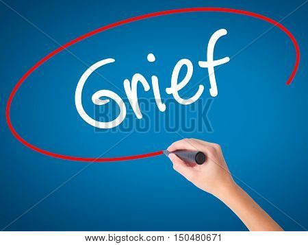 Women Hand Writing Grief With Black Marker On Visual Screen