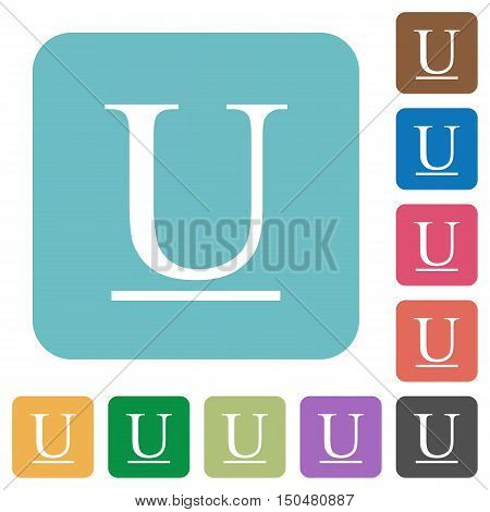 Flat Underlined font type icons on rounded square color backgrounds.