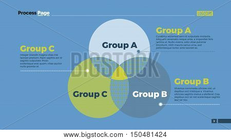 Venn diagram with ABC letters. Element of presentation, diagram, layout. Concept for infographics, business templates, reports. Can be used for topics like business strategy, analysis, management