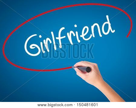 Women Hand Writing Girlfriend With Black Marker On Visual Screen