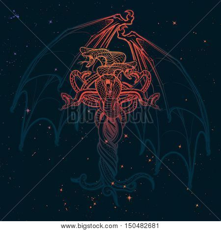 Interlaced snakes and bat wings as a sybmbolical representation of devil. Intricate hand drawing. Tattoo design. Halloween party invitation card design. Grunge background. EPS10 vector illustration.