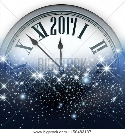 2017 New Year blue luminous background with clock. Vector illustration.