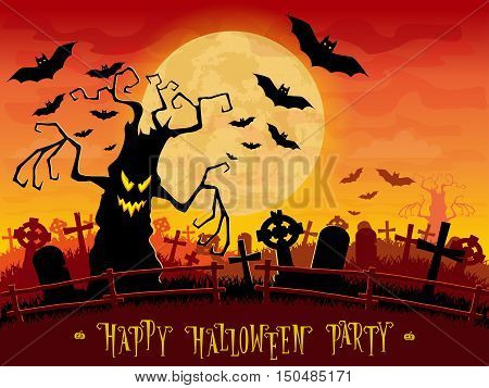 Halloween background. Scary monsters trees on old cemetery backdrop moon bats and graves. Design for concept banner poster flyer cards or invites on party. Cartoon style. Vector illustration