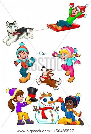 Children are playing with snow. Funny winter isolated elements, vector cartoon illustration.