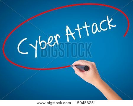 Women Hand Writing Cyber Attack With Black Marker On Visual Screen