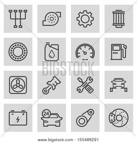 Vector black line car service icons set on grey background