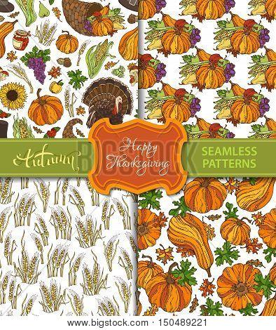 Vector Set Of Seamless Thanksgiving Patterns.