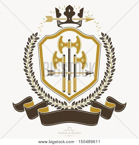 Retro vintage Insignia. Vector design element with axes and royal crown