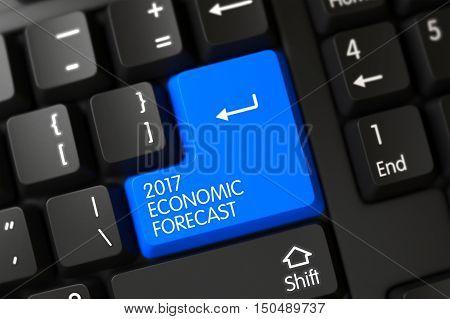 2017 Economic Forecast Written on a Large Blue Key of a Modernized Keyboard. 3D.