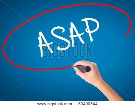 Women Hand Writing Asap  With Black Marker On Visual Screen