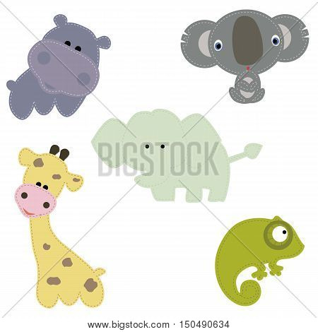 set of children's patches for clothing: animals of Africa. A collection of patches for children. Cute vector illustration