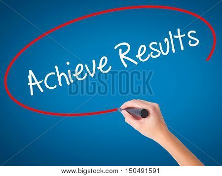 Women Hand Writing  Achieve Results With Black Marker On Visual Screen.