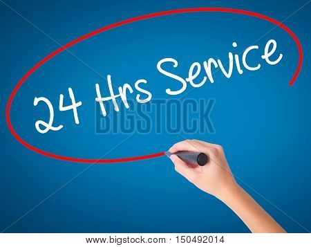 Women Hand Writing 24 Hrs Service With Black Marker On Visual Screen