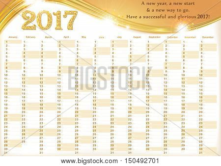 Calendar 2017 - English printable Organizer (planner) - contains the Dates highlighted, the days of the month and some space for personal notes. Print colors used