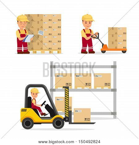 A set of vector people in the field of logistics, cargo storage and delivery. Warehouse worker in the uniform. Isolated characters for infographics and websites.