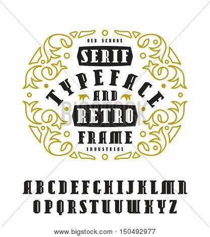 Stock vector set of serif font in retro style