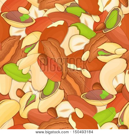 Vector seamless background of a cashew, brazilnut, walnut, hazelnut, peanut, pistachios, almond nut on white pattern. Nuts elements of packaging design, brochures on healthy eating