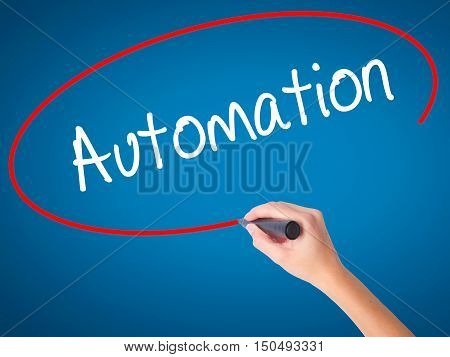 Women Hand Writing Automation With Black Marker On Visual Screen