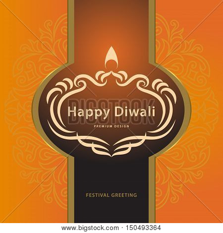 Happy Diwali. Elegant card design of traditional Indian festival Diwali. Holiday background with Beautiful calligraphic frame. Vector illustration