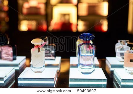SINGAPORE - SEPTEMBER 12, 2016: bottles of perfume are displayed at Victoria's Secret store. Victoria's Secret sells lingerie, womenswear, and beauty products.