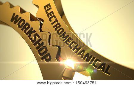 Electromechanical Workshop on the Mechanism of Golden Metallic Cogwheels with Lens Flare. 3D.