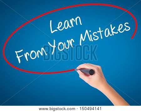 Women Hand Writing Learn From Your Mistakes  With Black Marker On Visual Screen