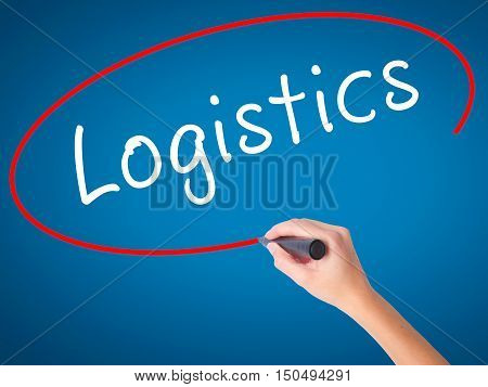 Man Hand Writing Logistics With Black Marker On Visual Screen
