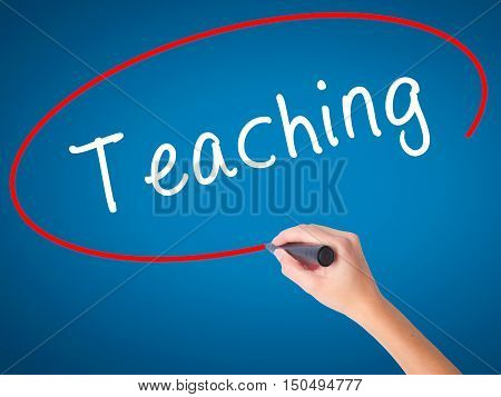 Man Hand Writing Teaching With Black Marker On Visual Screen