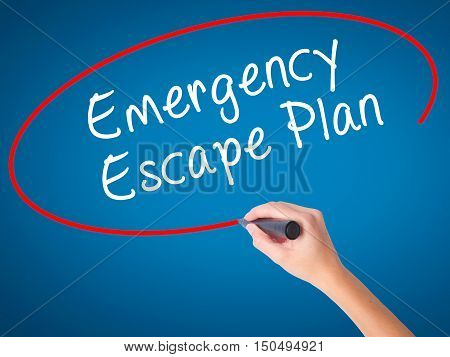 Man Hand Writing Emergency Escape Plan With Black Marker On Visual Screen