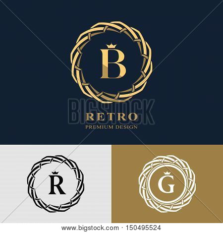 Emblem of the weaving circle. Monogram design elements graceful template. Simple logo design Letter B R G for Royalty business card Boutique Hotel Heraldic Web design. Vector illustration
