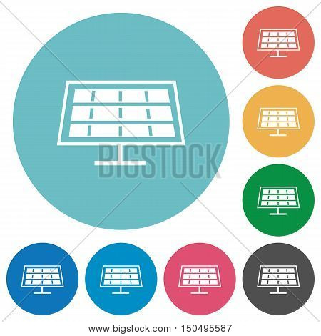 Flat solar panel icon set on round color background.