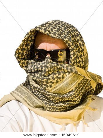 Arab Man With Sunglasses On That Have Dollar Signs  On Them