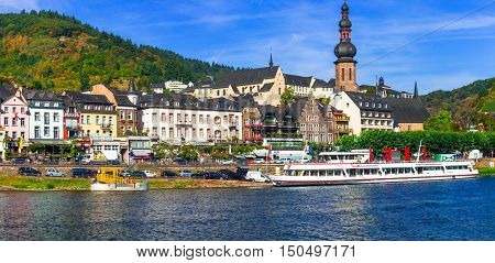 Romantic Rhine river cruise - medieval town Cochem. Germany