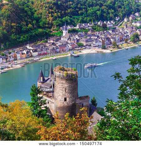 Beautiful romantic castles of Rhein river .view of Katz castle ana St.Goar town