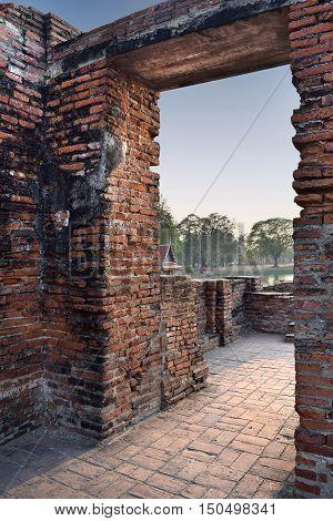 A door way at he ruins of Wat Mahathat Historical Site Ayuthya Thailand. Public Domain